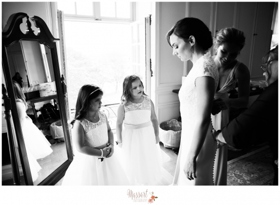 Black and white portrait of bride and flower girls at Portsmouth Rhode Island wedding photographed by Massart Photography RI MA CT
