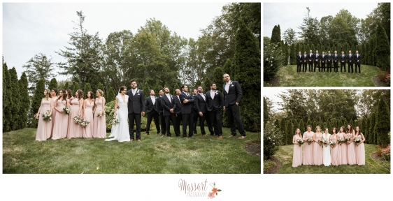 Outdoor wedding party formal portraits of bridesmaids and groomsmen photographed by Rhode Island photographers of Massart Photography RI MA CT