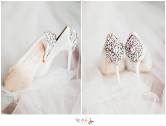 Wedding day pics of bridal shoes photographed by Rhode Island photographers of Massart Photography MA CT RI