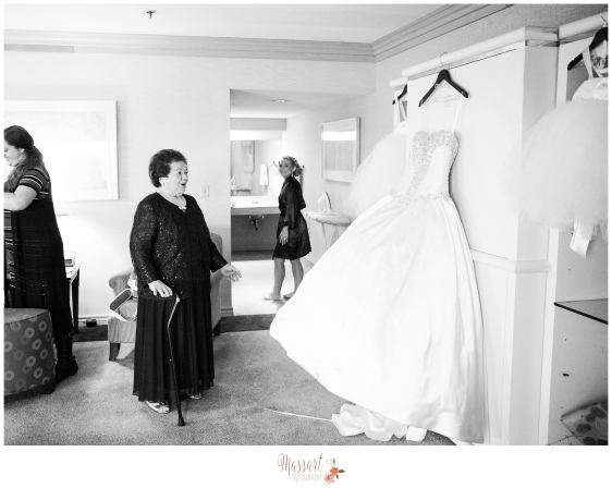 Black and white bridal gown photo taken by Rhode Island photographers of Massart Photography MA RI CT