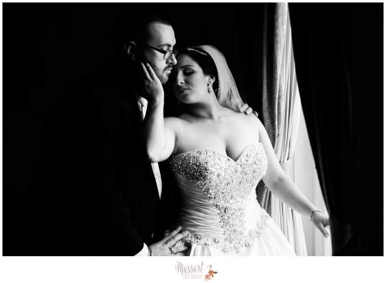 Black and white portrait of bride and groom on their wedding day at Aldrich Mansion in Warwick Rhode Island photographed by Warwick Rhode Island based photographers of Massart Photography RI MA CT