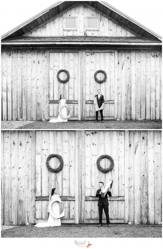 Black and white pics of barn wedding first look bride and groom at Blissful Meadows in Massachusetts photographed by Rhode Island photographers of Massart Photography MA CT RI