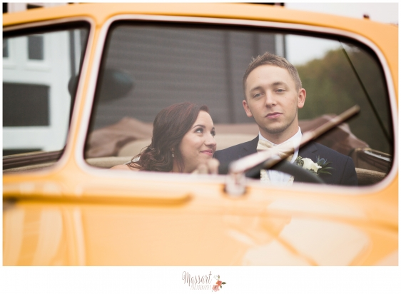 Bride and groom wedding day portrait in vintage car taken by Warwick Rhode Island photographers of Massart Photography RI MA CT