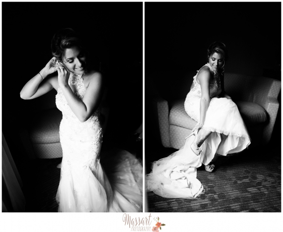 Black and white photos of bride with her shoes earrings and other bridal details photographed by Warwick Rhode Island photographer of Massart Photography MA CT RI