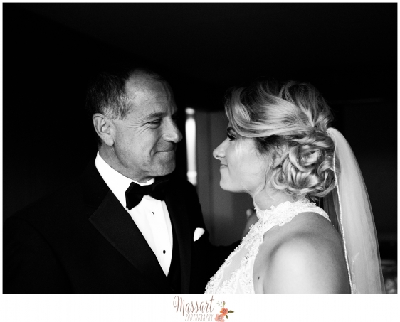 Black and white family wedding day portrait of father and daughter photographed by Warwick Rhode Island photographers of Massart Photography MA CT RI