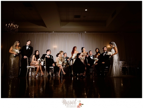 Cool chic vogue bridal party posed formal photo by Rhode Island photographer of Massart Photography MA CT RI