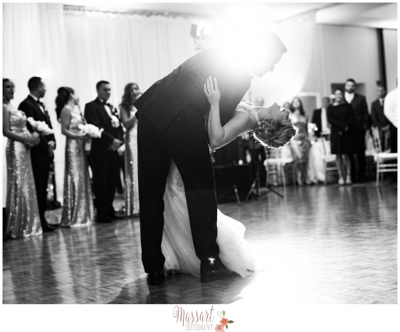 Black and white first dance wedding portrait of bride and groom on their wedding day at Kirkbrae Country Club with Warwick Rhode Island photographers of Massart Photography RI MA CT