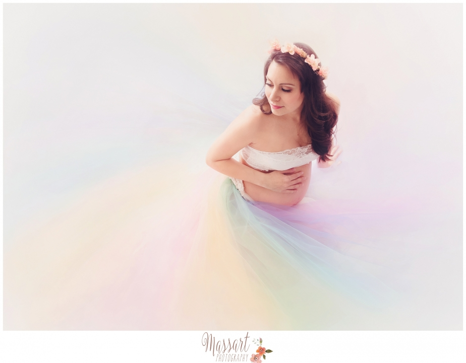 RI Rainbow maternity session rhode island photography studio, heart of a gypsy dress, salon sapphire hair and make up for portrait