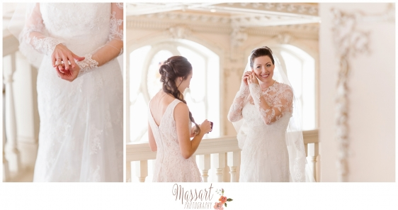 Wedding portrait of bride and bridal details photographed by Rhode Island photographers of Massart Photography RI MA CT