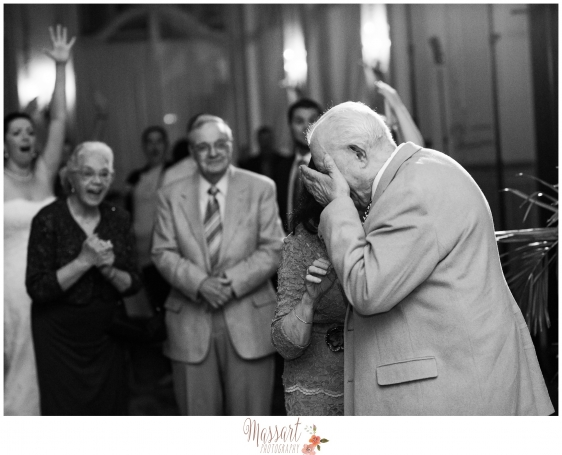 Black and white family wedding photo taken by Rhode Island photographers of Massart Photography MA RI CT
