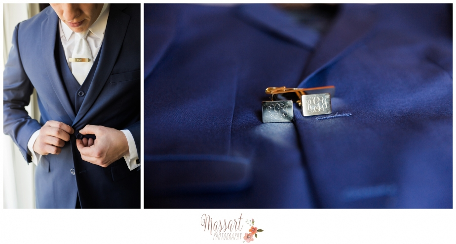 Groom's blue tux and cufflinks in Rhode Island