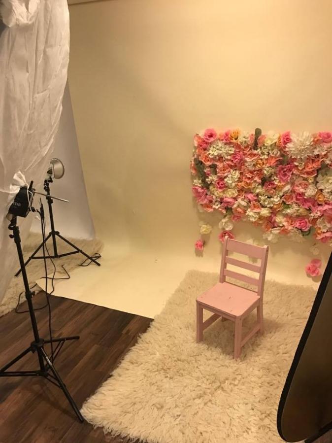 Massart Photography Studio DIY flower wall backdrop