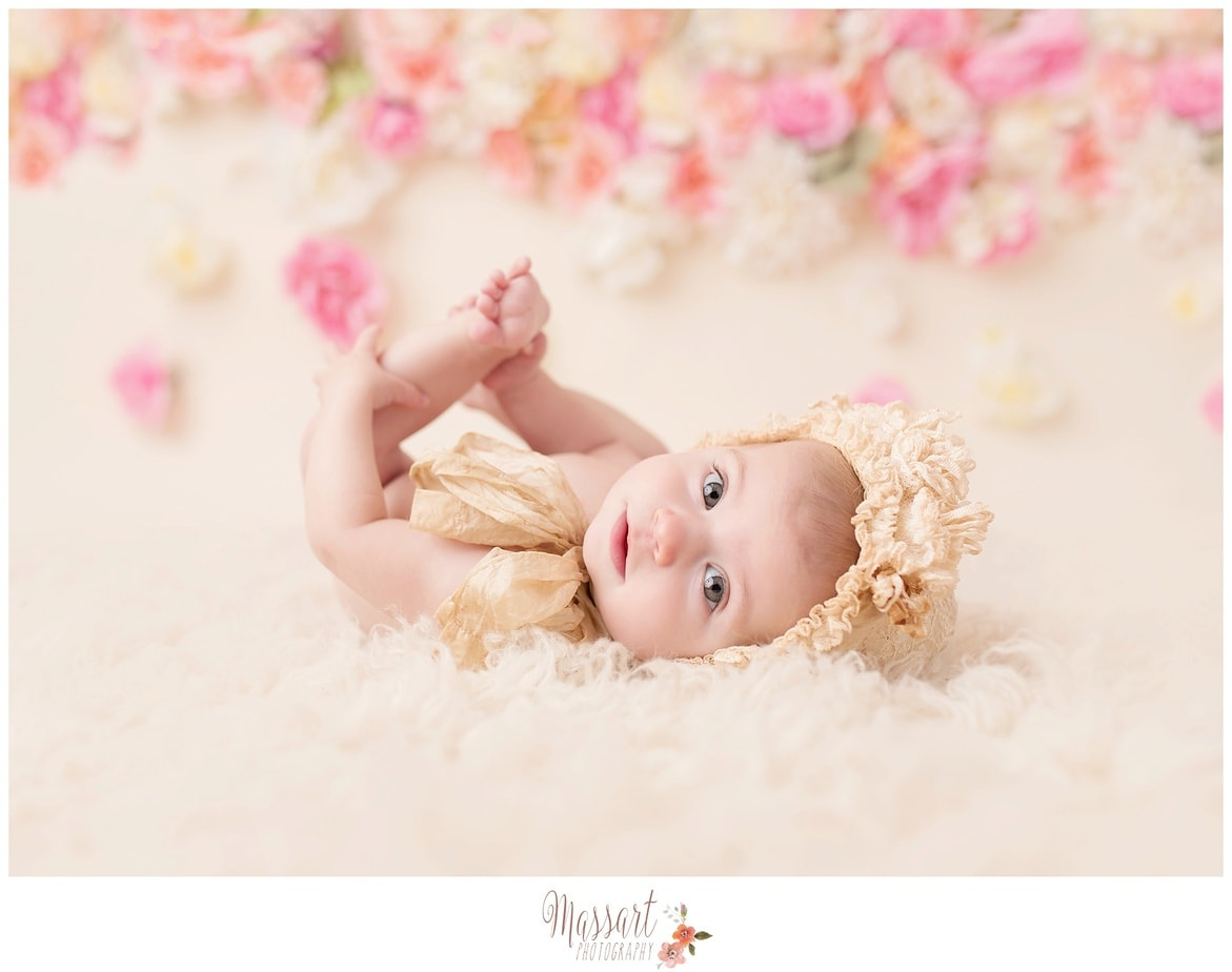 baby photography DIY flower wall in studio by Massart Photography Photographers