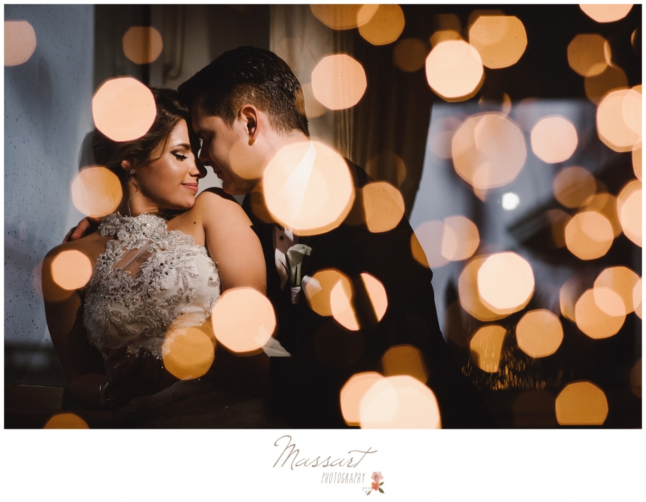 Wedding day portrait of bride and groom photographed by Massart Photography of RI