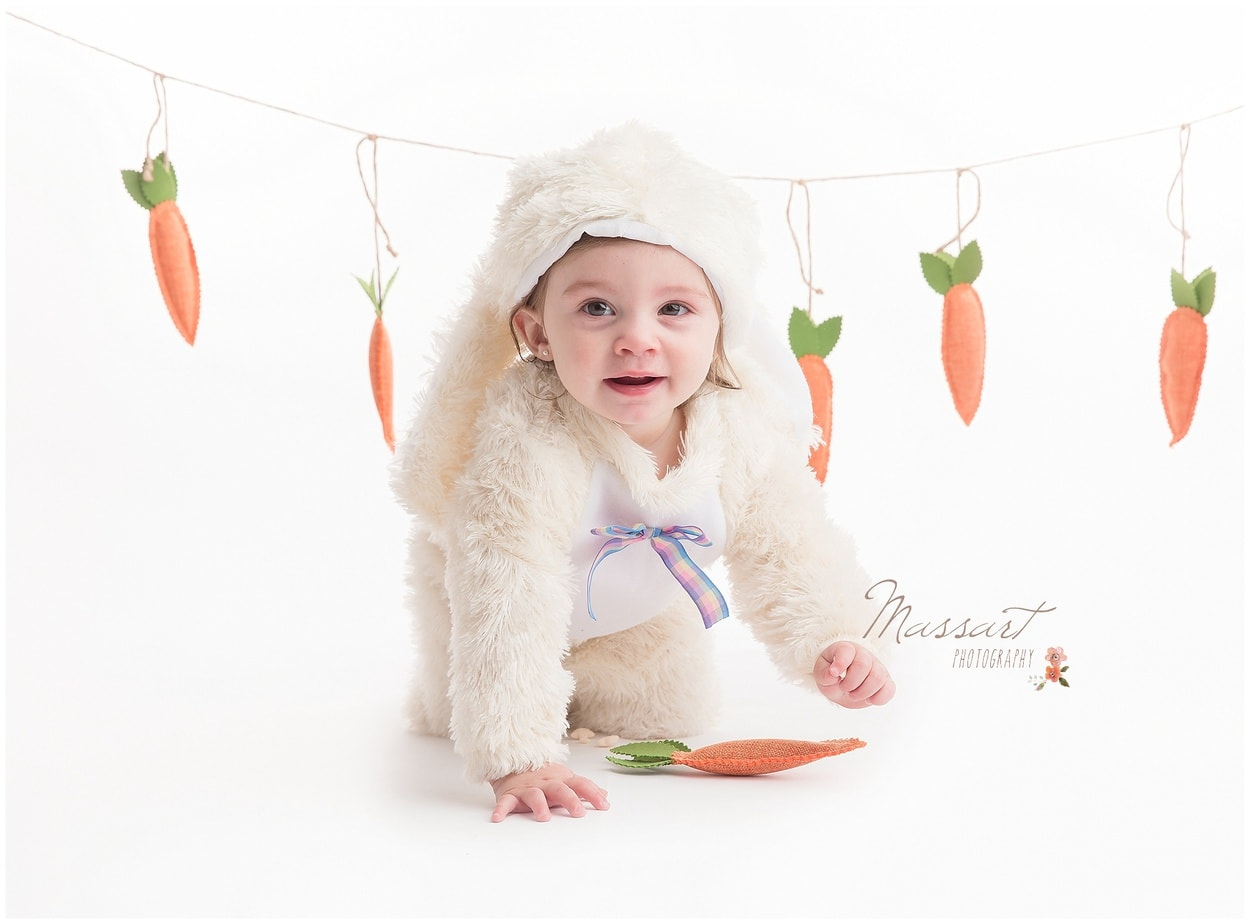 First birthday milestone studio session with Massart Photography, RI MA CT; bunny costume and carrots