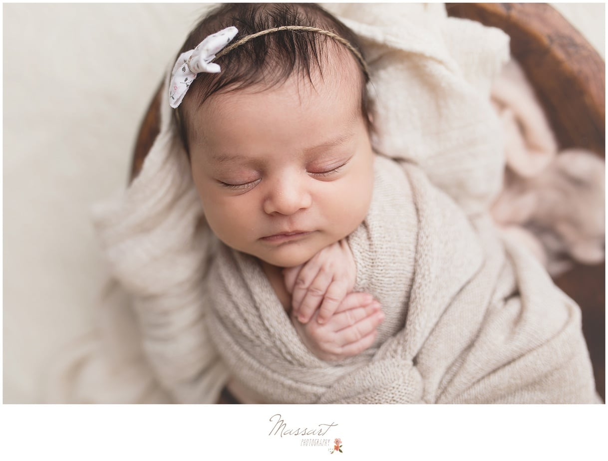 Baby girl newborn session with Massart Photography, serving Rhode Island, Massachusetts and Connecticut