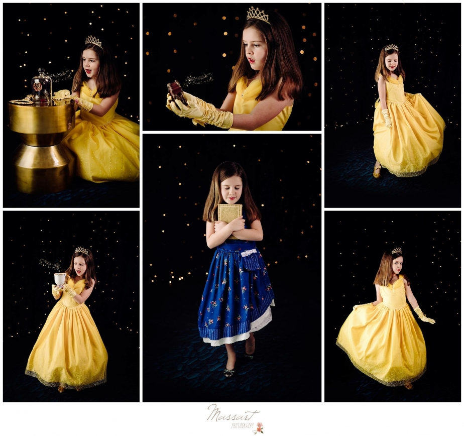 Beauty and the Beast mini session photos of girl dressed as Belle photographed by Massart Photography, RI MA CT
