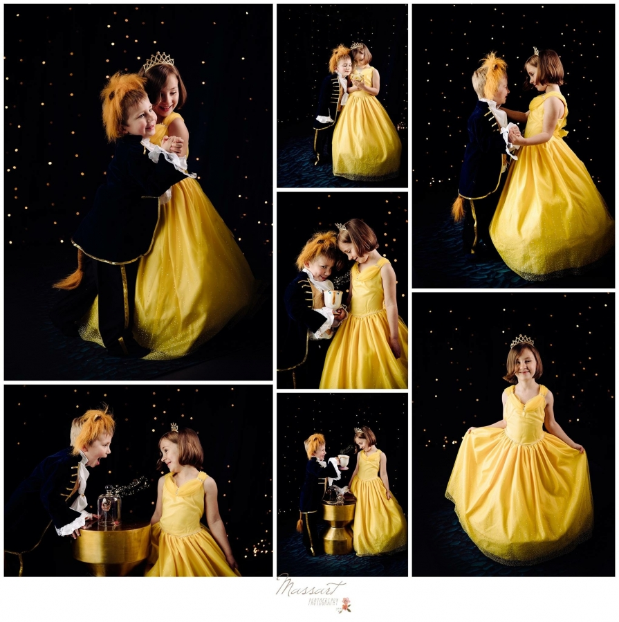 Beauty and the Beast themed pictures of little girl dressed as Belle and little boy dressed as the beast photographed by Massart Photography serving RI MA and CT