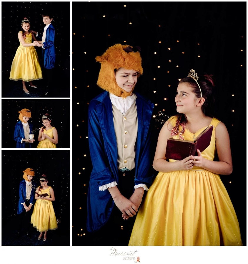 Beauty and the Beast mini session studio portraits of girl dressed as Belle and boy dressed as the beast photographed by Massart Photography of Rhode Island