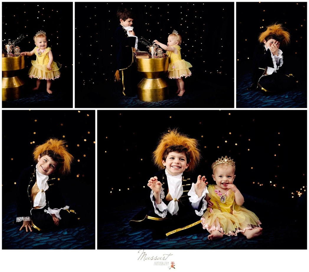 Beauty and the Beast themed mini session photos of girl dressed as Belle and boy dressed as the beast captured by Massart Photography of Warwick, RI