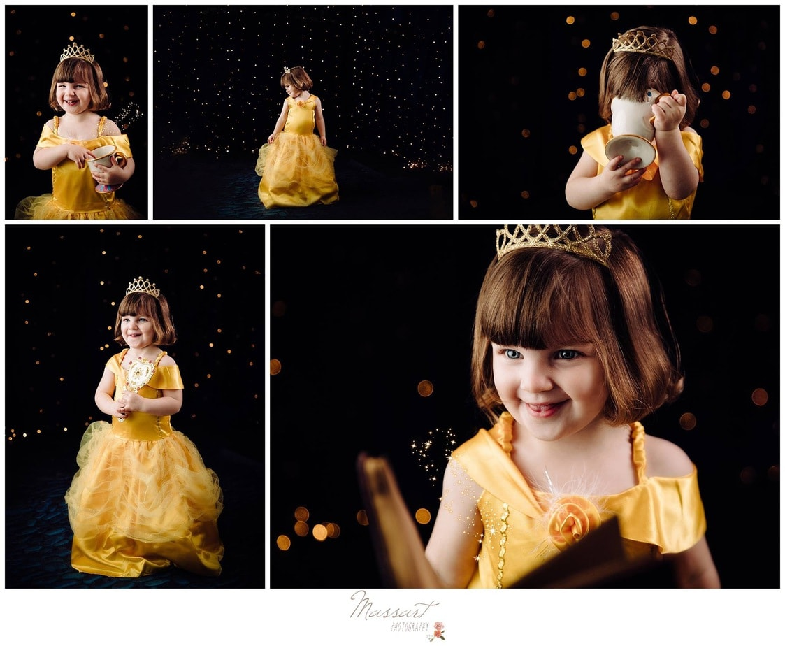 Beauty and the Beast photos of little girl dressed as Belle photographed by Massart Photography, RI MA CT