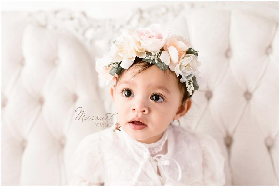 First birthday milestone photo shoot in studio by Massart Photography, RI MA CT