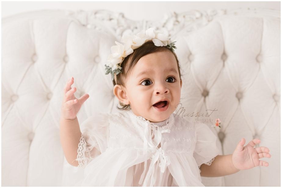 First birthday milestone photo shoot by Massart Photography, a Rhode Island newborn, family and wedding photographer.