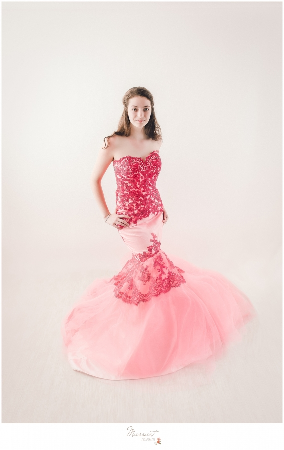 Elegant styled shoot of teenage girl in a gown photographed by Massart Photography of Warwick, RI