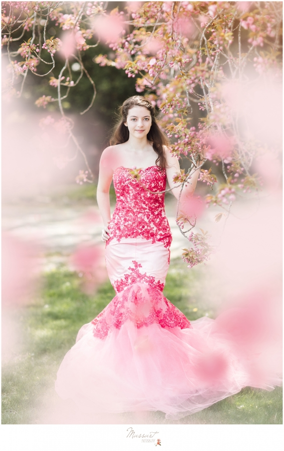 Outdoor spring pictures of a teenage girl dressed up in a pink gown photographed by Massart Photography, a Rhode Island newborn, family and wedding photographer.