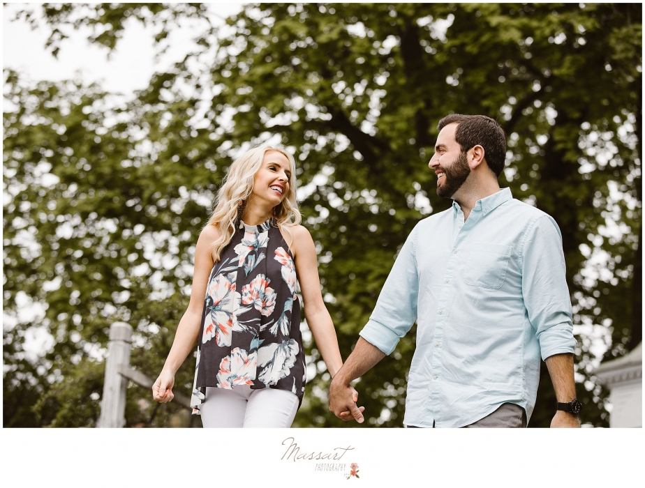 Engagement portrait photographed outdoors in the spring by Massart Photography, RI MA CT.