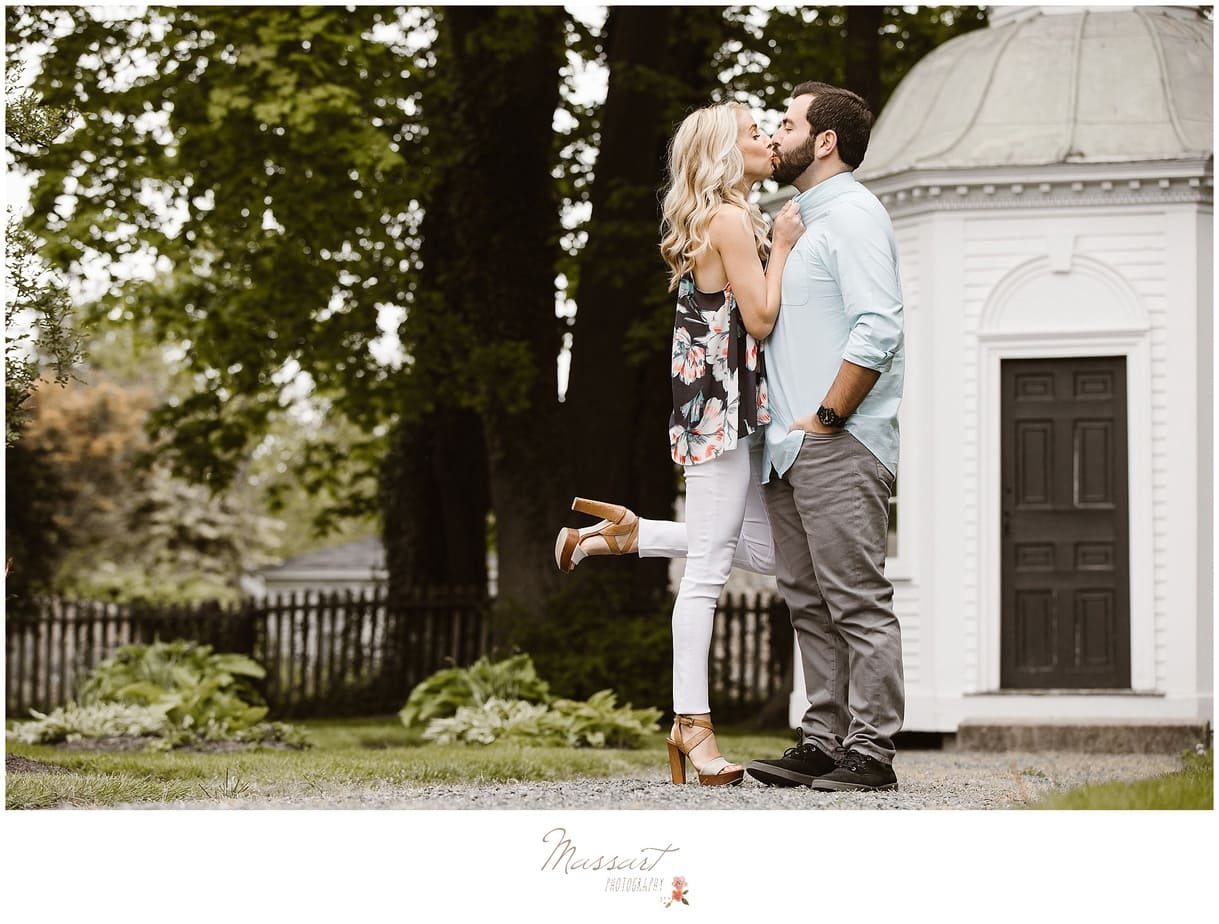 Outdoor spring engagement photo shoot at Linden Place photographed by Massart Photography of Rhode Island.