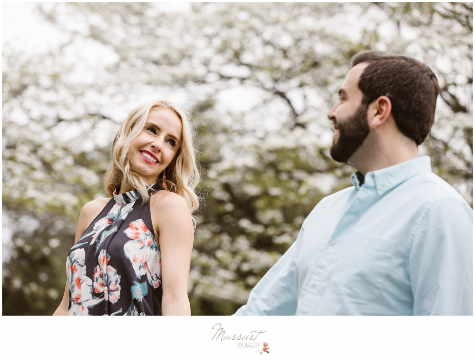 Outdoor engagement portrait photographed at sunset by Massart Photography of Warwick, Rhode Island.