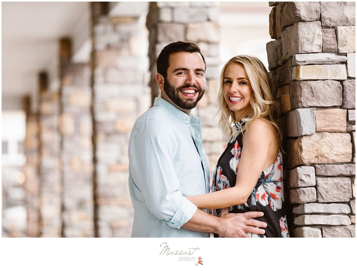 A spring engagement photo shoot at Linden Place in Bristol, RI photographed by Massart Photography of Warwick, Rhode Island.