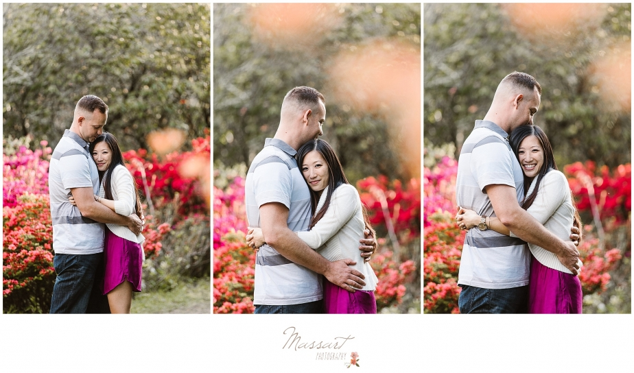 Engagement photos taken in a park in spring photographed by Massart Photography of Rhode Island