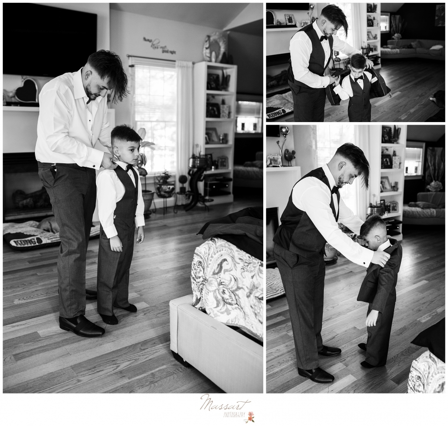 Father and son getting dressed for wedding in providence rhode island