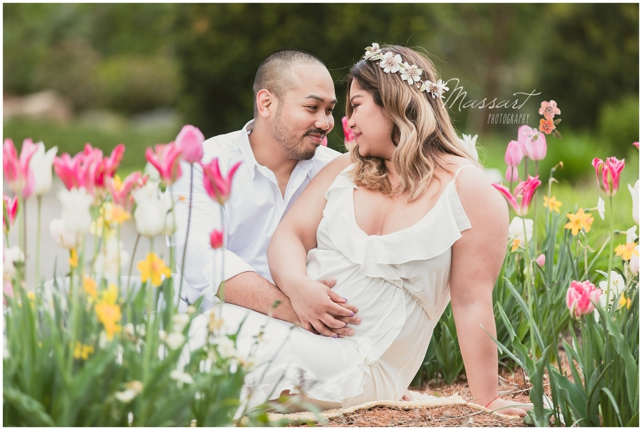 Botanical gardens maternity photo shoot in Rhode Island