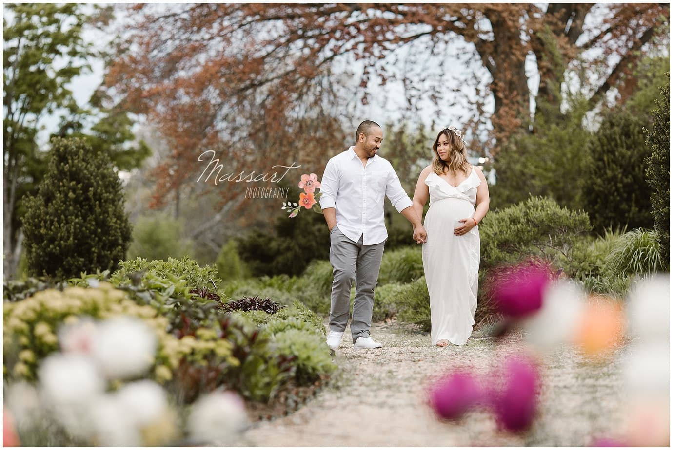 Spring maternity photo shoot in the park by Massart Photography, RI MA CT
