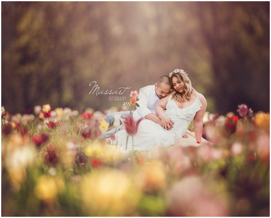 Maternity portrait session in a field of flowers by Massart Photography RI MA CT