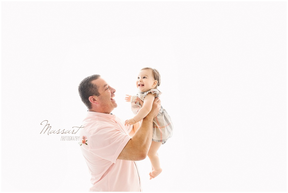 studio portrait of father and daughter photographed by Massart Photography of Rhode Island