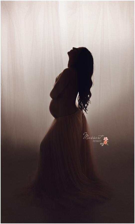 Elegant studio maternity portrait photographed by Massart Photography of Warwick, Rhode Island