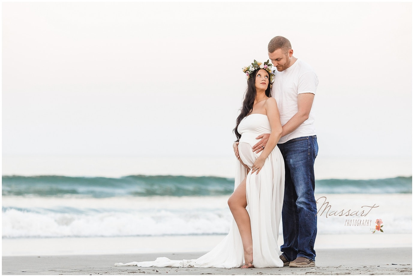 Beach sunset maternity photo shoot with mother and father to be by Massart Photography Ri