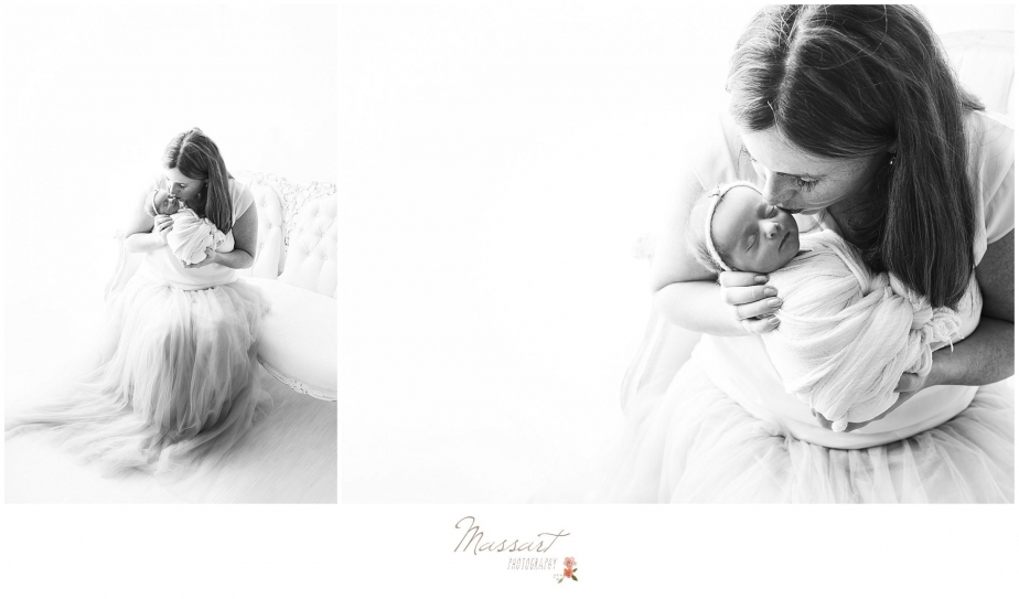 Black and white newborn portraits of mother and baby photographed by Massart Photography, RI MA CT