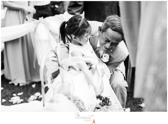 black and white photo of the flower girl photographed by massart photography ri ma ct