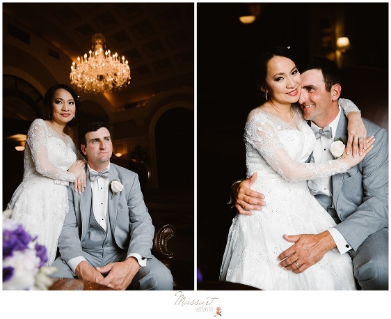 indoor wedding portraits of the bride and groom photographed by massart photography ri ma ct