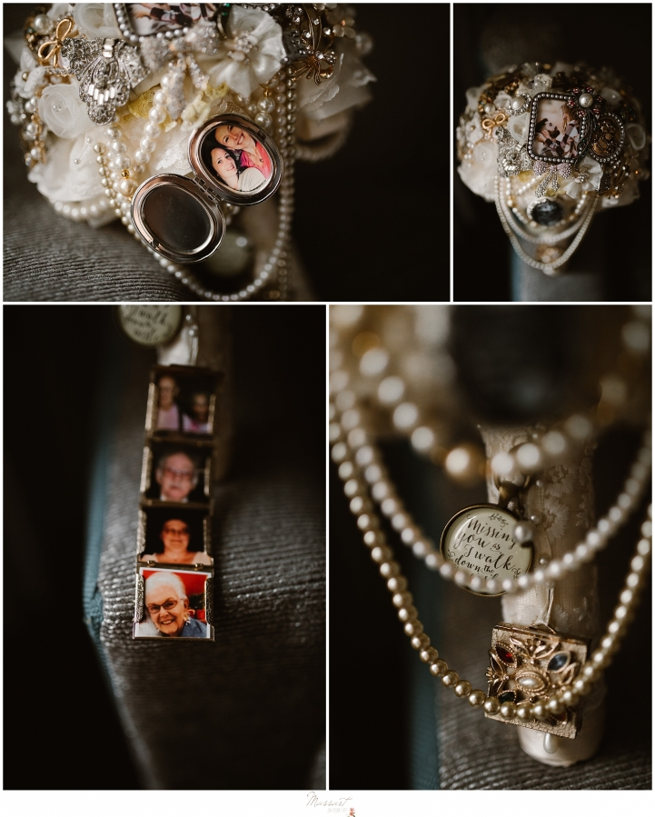 beautiful vintage brooche bouquet in rhode island for a kirkbrae country club wedding