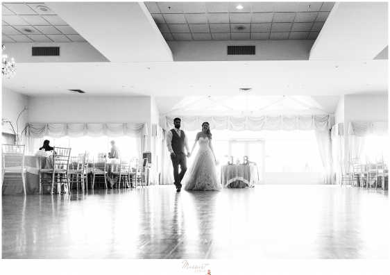 bride and groom enter the ballroom at kirkbrae country club RI