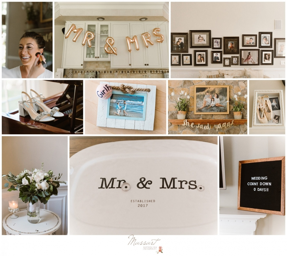 Photos of the bride getting ready at her parents house before Newport Beach House wedding photographed by Massart Photography RI