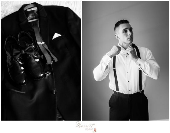 Groom getting ready before wedding at Newport Beach House photographed by Massart Photography RI