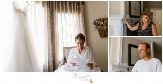 Bride reads letters alongside her parents before her Newport Beach House wedding photographed by Massart Photography RI