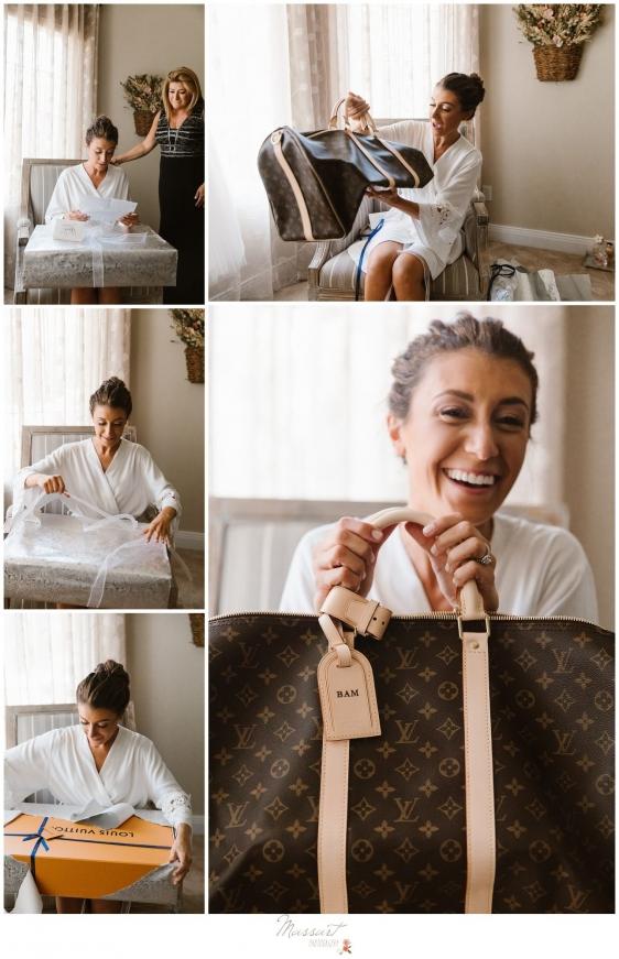 Bride opens an initialed Louis Vitton bag right before wedding in Newport RI photographed by Massart Photography Rhode Island